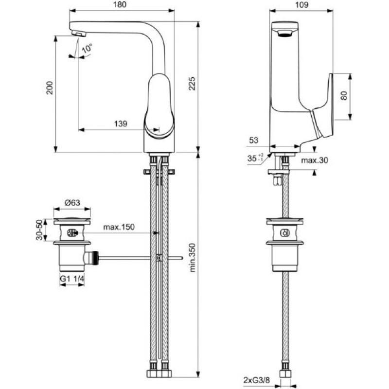 VIDIMA ONE Смесител за умивалник с висок чучур и изпразнител B0438AA