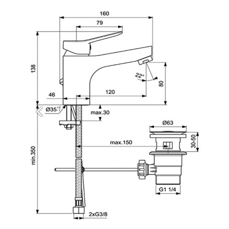 VIDIMA SCORPIO Смесител за умивалник с изпразнител GRANDE BC271AA
