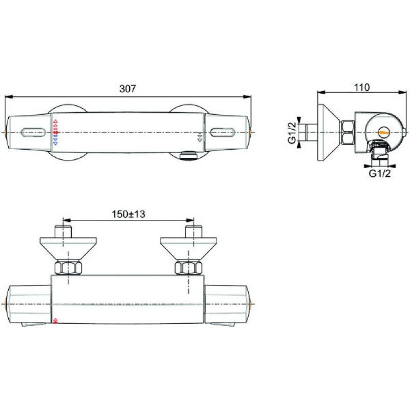 VIDIMA V-STYLE Термостатен смесител за душ A5527AA