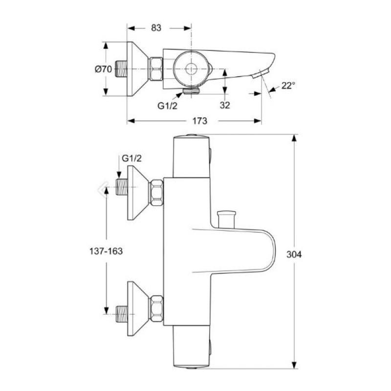 VIDIMA V-STYLE Термостатен смесител за вана и душ A5633AA